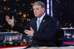 Fox News host Sean Hannity interviews Democratic presidential candidate and New York Mayor Bill de Blasio during a taping of his show,