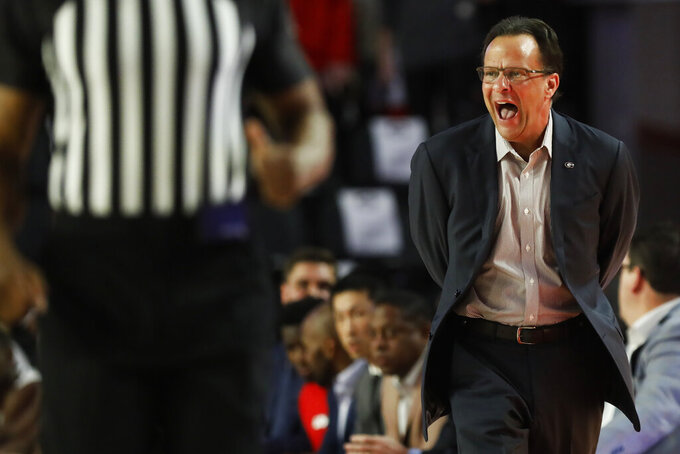 Georgia coach Tom Crean shouts during the first half of the team's NCAA college basketball game against Tennessee on Wednesday, Jan. 15, 2020, in Athens, Ga. (Joshua L. Jones/Athens Banner-Herald via AP)