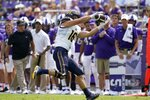 California tight end Collin Moore (16) catches a pass in the first half of an NCAA college football game against TCU in Fort Worth, Texas, Saturday, Sept. 11, 2021. (AP Photo/Tony Gutierrez)