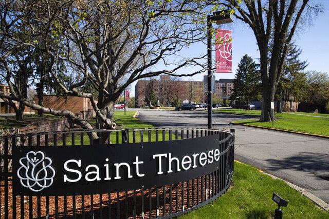 Saint Therese Senior Services in New Hope, Minn., on Thursday, April 30, 2020. A suburban Minneapolis nursing home said 47 residents have died from complications of COVID-19, the most at any long-term care facility in Minnesota. (Evan Frost/Minnesota Public Radio via AP)