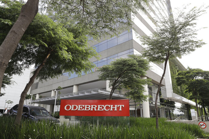 FILE - This April 12, 2018 file photo shows the Odebrecht headquarters in Sao Paulo, Brazil. The Brazilian construction giant filed for bankruptcy protection to restructure $13 billion in debt on Monday, June 17, 2019, worn down after spending five years at the center of one of the world's largest corruption investigations. (AP Photo/Andre Penner, File)