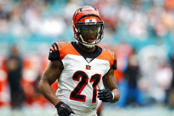 FILE - In this Dec. 22, 2019, file photo, Cincinnati Bengals defensive back Darqueze Dennard (21) runs during the second half at an NFL football game against the Miami Dolphins in Miami Gardens, Fla. The Atlanta Falcons have signed former Bengals cornerback Darqueze Dennard, who adds needed experience to a young secondary. (AP Photo/Brynn Anderson, File)