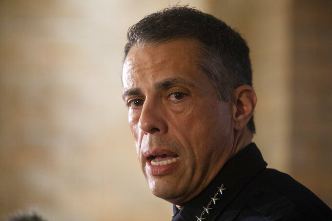 FILE -- Interim Austin Police Chief Joseph Chacon is shown in this June 12, 2021 file photo during a news conference in Austin, Texas. Chacon was named Wednesday, Sept, 22, 2021 as the permanent choice position. Chacon has been the interim police chief since the retirement of former Chief Brian Manley amid a reckoning over racial injustice and use of force in law enforcement. Chacon's appointment must still be confirmed by the City Council. (Ana Ramirez/Austin American-Statesman via AP, file)