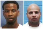 This combination photo of undated file photos released by the Mississippi Department of Corrections shows Roosevelt Holliman, left, who was beaten and stabbed at the Mississippi State Penitentiary at Parchman on Jan. 2, 2020, and Denorris Howell, who was found dead in his cell on Jan. 3. More than two dozen Mississippi inmates sued the state Tuesday, Jan. 14, saying understaffed prisons are
