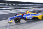 Alexander Rossi drives out of the pit area during practice for the Indianapolis 500 IndyCar auto race at Indianapolis Motor Speedway, Friday, May 17, 2019 in Indianapolis. (AP Photo/AJ Mast)
