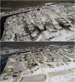This combination of photos shows empty lots in Mexico Beach, Fla., on  Oct. 12, 2018, top, after devastation from Hurricane Michael and the same location on May 3, 2019. (AP Photos)