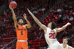 Oregon State guard Ethan Thompson (5) shoots the ball over Utah forward Timmy Allen (20) during the first half of an NCAA college basketball game, Saturday, Feb. 2, 2019, in Salt Lake City. (AP Photo/Chris Nicoll)