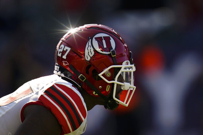The sun shines on Utah running back Elvis Vakapuna (27) as he waits for a play to start during the first half of an NCAA college football game against San Diego State Saturday, Sept. 18, 2021, in Carson, Calif. (AP Photo/Ashley Landis)