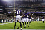 Baltimore Ravens' Jaleel Scott celebrates with teammates after scoring a touchdown during the first half of a preseason NFL football game against the Philadelphia Eagles, Thursday, Aug. 22, 2019, in Philadelphia. (AP Photo/Michael Perez)