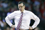 Nebraska coach Tim Miles turns to his bench during the first half of an NCAA college basketball game against Maryland in Lincoln, Neb., Wednesday, Feb. 6, 2019. (AP Photo/Nati Harnik)
