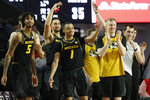Missouri players celebrate during the team's NCAA college basketball game against Georgia on Wednesday, March 6, 2019, in Athens, Ga. (Joshua L. Jones/Athens Banner-Herald via AP)