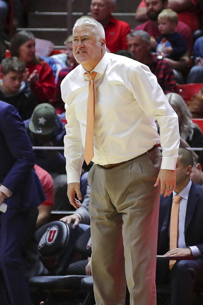 Oregon State head coach Wayne Tinkle watches his team play against Utah during the second half of an NCAA college basketball game, Saturday, Feb. 2, 2019, in Salt Lake City. (AP Photo/Chris Nicoll)