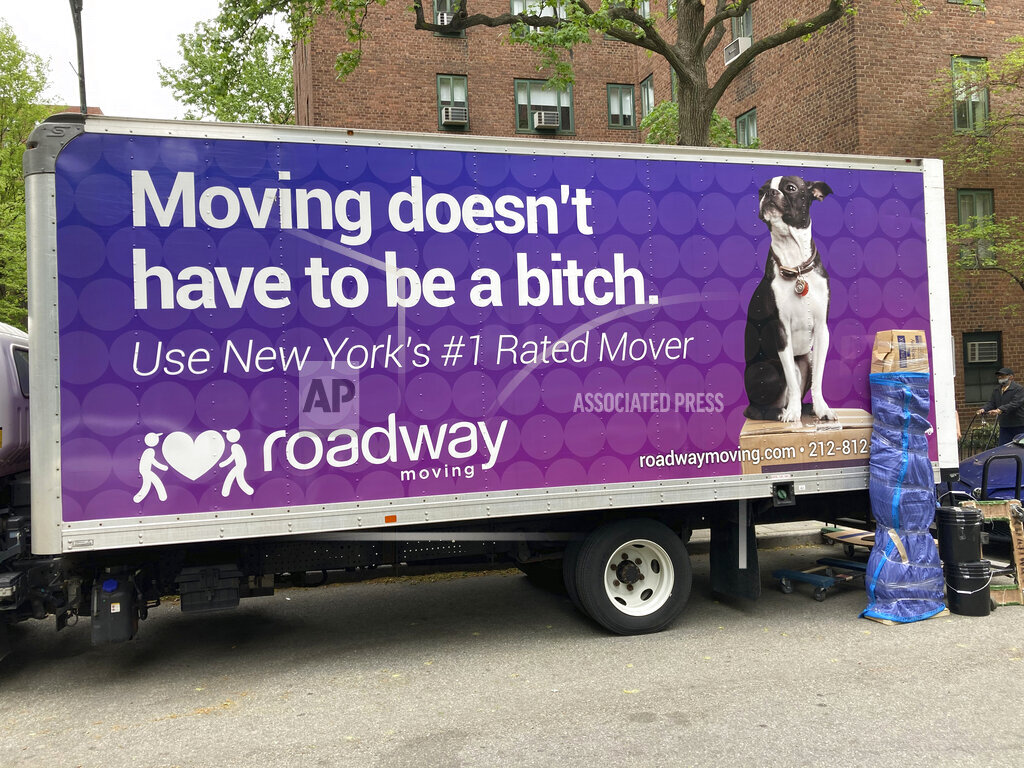 A moving truck is seen in NYC as New Yorkers flee the city
