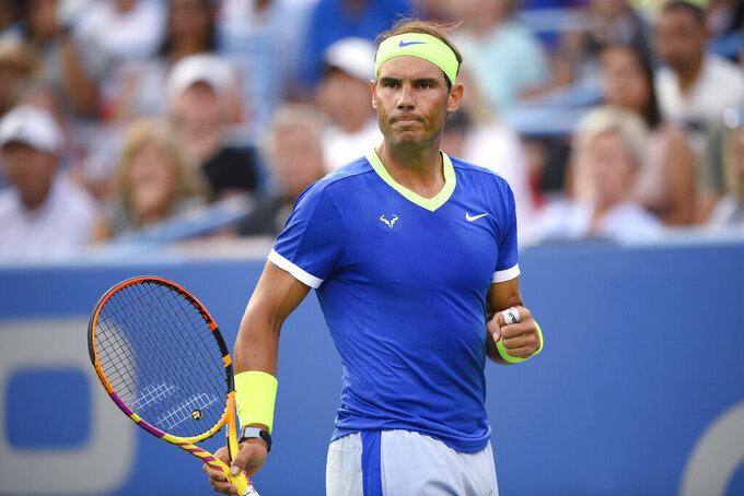 Rafael Nadal, of Spain, reacts during a match against Jack Sock, of the United States, at the Citi Open tennis tournament Wednesday, Aug. 4, 2021, in Washington. (AP Photo/Nick Wass)