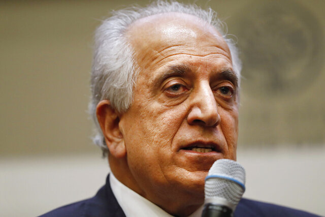 FILE - In this Feb. 8, 2019, file photo, Special Representative for Afghanistan Reconciliation Zalmay Khalilzad speaks on the prospects for peace at the U.S. Institute of Peace, in Washington. U.S. peace envoy Zalmay Khalilzad held on Saturday, Dec. 7, 2019 the first official talks with Afghanistan's Taliban since last September when President Donald Trump declared a near-certain peace deal with the insurgents dead. (AP Photo/Jacquelyn Martin, File)