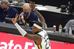 Utah Jazz forward Royce O'Neale (23) celebrates after scoring a 3-pointer against the New Orleans Pelicans during the second half of an NBA basketball game Thursday, Jan. 21, 2021, in Salt Lake City. (AP Photo/Rick Bowmer)