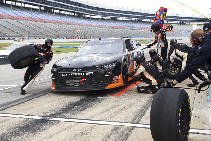NASCAR Xfinity Series driver Jeb Burton (8) pits during a NASCAR Xfinity Series auto race at Texas Motor Speedway in Fort Worth, Texas, Saturday Oct. 24, 2020. (AP Photo/Richard W. Rodriguez)