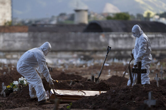 Cemetery workers wearing hazmat suits bury the coffin containing the remains of 71-year-old Neide Rodrigues Rosa, who died from the new coronavirus according to her son Sergio Rodrigues, in Rio de Janeiro, Brazil, Friday, May 8, 2020. (AP Photo/Leo Correa)