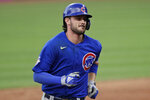 Chicago Cubs' Kris Bryant runs the bases after hitting a solo home run in the sixth inning in a baseball game against the Cleveland Indians, Wednesday, Aug. 12, 2020, in Cleveland. (AP Photo/Tony Dejak)