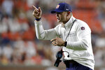 Auburn coach Bryan Harsin signals to players during the second half of an NCAA college football game against Akron on Saturday, Sept. 4, 2021, in Auburn, Ala. (AP Photo/Butch Dill)