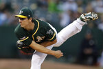 Oakland Athletics pitcher Homer Bailey works against the New York Yankees during the first inning of a baseball game Tuesday, Aug. 20, 2019, in Oakland, Calif. (AP Photo/Ben Margot)