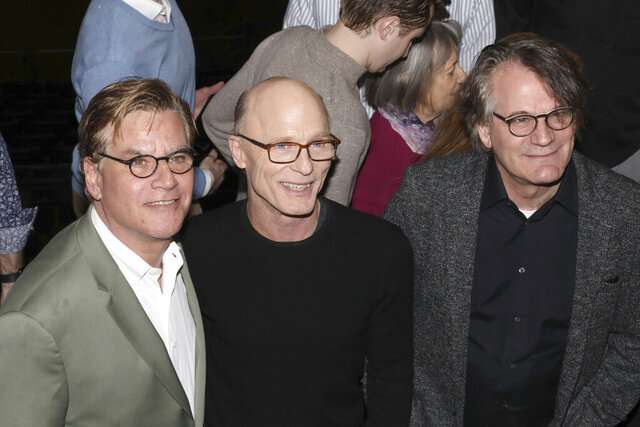 Aaron Sorkin, from left, Ed Harris and Bartlett Sher participate in a press conference to announce an upcoming performance of