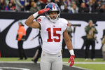 New York Giants wide receiver Golden Tate (15) gestures after scoring during the second half of an NFL football game against the New York Jets Sunday, Nov. 10, 2019, in East Rutherford, N.J. (AP Photo/Bill Kostroun)