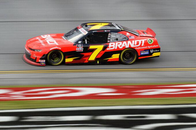 Justin Allgaier competes during a NASCAR Xfinity Series auto race Saturday, Oct. 2, 2021, in Talladega, Ala. (AP Photo/John Amis)