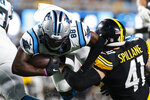 Carolina Panthers wide receiver Terrace Marshall Jr. scorches past Pittsburgh Steelers linebacker Robert Spillane during the first half of a preseason NFL football game Friday, Aug. 27, 2021, in Charlotte, N.C. (AP Photo/Nell Redmond)