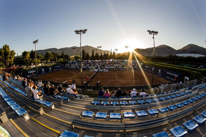 A view of the central court during Palermo Ladies Open tennis tournament in Palermo, Italy, Thursday, Aug. 6, 2020. Tour-level tennis resumed after a five-month enforced break and players at the Palermo Ladies Open had to handle their own towels and not shake hands of opponents. The strict rules because of the coronavirus included no showers on site, and no autographs or photos with fans. Players in the singles main draw come from 15 countries, all in Europe. (Palermo Ladies Open via AP)