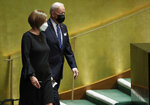 U.S. President Joe Biden arrives to speak during the 76th Session of the U.N. General Assembly in at United Nations headquarters on Tuesday, Sept. 21, 2021 in New York.   (Eduardo Munoz/Pool Photo via AP)
