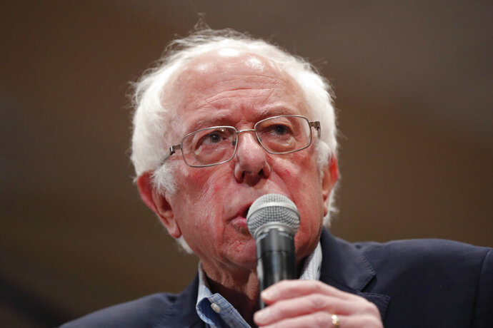 Democratic presidential candidate, Sen. Bernie Sanders, I-Vt., speaks at a campaign event in Durham, N.C., Friday, Feb. 14, 2020. (AP Photo/Gerald Herbert)