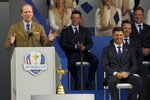 Team USA captain Steve Stricker speaks during the opening ceremony for the Ryder Cup at the Whistling Straits Golf Course Thursday, Sept. 23, 2021, in Sheboygan, Wis. (AP Photo/Charlie Neibergall)