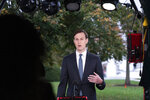 White House senior adviser Jared Kushner does a television interview at the White House, Monday, Oct. 26, 2020, in Washington. (AP Photo/Alex Brandon)