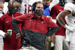 Alabama head coach Nick Saban watches play against Florida during the second half of the Southeastern Conference championship NCAA college football game, Saturday, Dec. 19, 2020, in Atlanta. Alabama plays against Notre Dame in the Rose Bowl in Arlington, Texas on Jan. 1, 2021. (AP Photo/John Bazemore)
