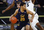 California guard Matt Bradley, front, looks to pass the ball as Colorado forward Lucas Siewert defends in the second half of an NCAA college basketball game Thursday, Feb. 6, 2020, in Boulder, Colo. (AP Photo/David Zalubowski)
