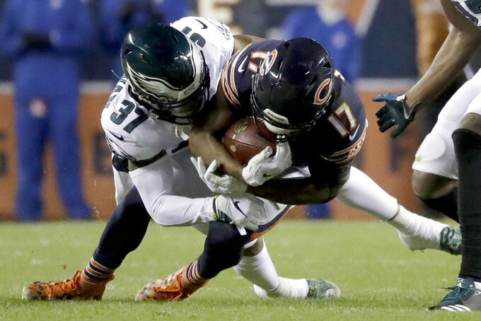 Philadelphia Eagles' Tre Sullivan (37) tackles Chicago Bears' Anthony Miller (17) during the first half of an NFL wild-card playoff football game Sunday, Jan. 6, 2019, in Chicago. (AP Photo/Nam Y. Huh)