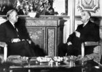 FILE - In this Jan. 24, 1967 file photo, British Prime Minister Harold Wilson, left, meets with French President Charles de Gaulle at the Elysee Palace in Paris. Later that year, de Gaulle would veto Britain's efforts to join the-then European Economic Community. It was only after de Gaulle's death that Britain eventually joined the EEC in 1973. Britain is scheduled to leave what became known as the European Union on Jan. 31, 2020. (AP Photo, File)