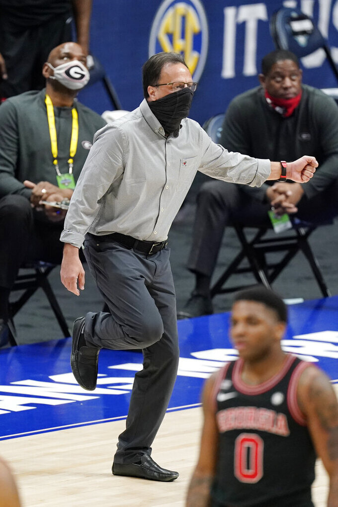 Georgia head coach Tom Crean reacts to a play in the second half of an NCAA college basketball game against Missouri in the Southeastern Conference Tournament Thursday, March 11, 2021, in Nashville, Tenn. (AP Photo/Mark Humphrey)