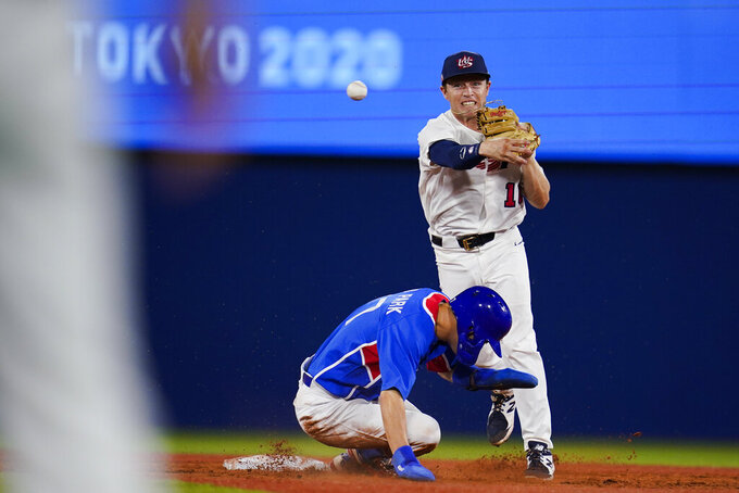 United States' Nick Allen throws to first after forcing out South Korea's Hae Min Park during a semi-final baseball game at the 2020 Summer Olympics, Thursday, Aug. 5, 2021, in Yokohama, Japan. (AP Photo/Sue Ogrocki)