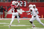 Nebraska wide receiver JD Spielman (10) makes a catch against South Alabama safety Tré Young (5) during the first half of an NCAA college football game in Lincoln, Neb., Saturday, Aug. 31, 2019. (AP Photo/Nati Harnik)