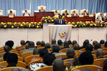 Congo's President Joseph Kabila speaks during the state of the nation address to the National Assembly in Kinshasa, Democratic Republic of Congo, Thursday, July 19, 2018. Congo's President Joseph Kabila in a national address says the long-delayed December election is
