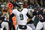 Philadelphia Eagles quarterback Nick Foles (9) passes during the first half of an NFL wild-card playoff football game against the Chicago Bears Sunday, Jan. 6, 2019, in Chicago. (AP Photo/Nam Y. Huh)