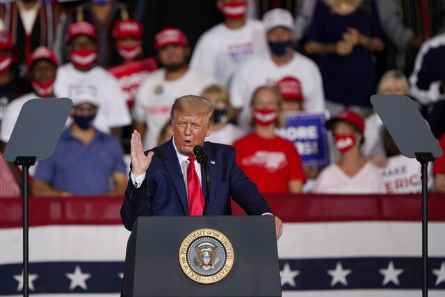 President Donald Trump speaks at a campaign rally Tuesday, Sept. 8, 2020, in Winston-Salem, N.C. (AP Photo/Chris Carlson)