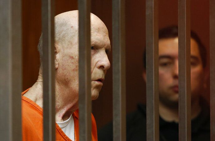 Joseph James DeAngelo, suspected of being the Golden State Killer, appears in Sacramento County Superior Court in Sacramento, Calif., Wednesday, Jan. 22, 2020. Sacramento County Superior Court Judge Steve White ordered a preliminary hearing for DeAngelo to begin May 12, 2020.(AP Photo/Rich Pedroncelli)