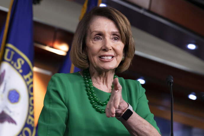 House Democratic Leader Nancy Pelosi of California, meets with reporters at her weekly news conference on Capitol Hill in Washington, Thursday, Dec. 6, 2018. (AP Photo/J. Scott Applewhite)