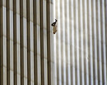 EDS NOTE: GRAPHIC CONTENT - FILE - A person falls from the north tower of New York's World Trade Center Tuesday Sept. 11, 2001after terrorists crashed two hijacked airliners into the World Trade Center and brought down the twin 110-story towers.  Associated Press photographer Richard Drew talks about AP's coverage of 9/11 and the events that followed. (AP Photo/Richard Drew)