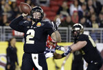 FILE - In this Dec. 27, 2017, file photo, Purdue quarterback Elijah Sindelar (2) throws against Arizona during the first half of the Foster Farms Bowl NCAA college football game in Santa Clara, Calif. In 2018, Sindelar won the starting job in preseason camp but kept it for only two games because of knee tendinitis and an injured oblique muscle. He didn't take another snap the rest of the season. With sensational receiver Rondale Moore, Sindelar could be primed for a big 2019 season. (AP Photo/Marcio Jose Sanchez, File)