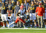 Maryland's Rakim Jarrett catches a pass for a touchdown against West Virginia during the second half of an NCAA college football game Saturday, Sept. 4, 2021 in College Park, Md. (Kevin Richardson/The Baltimore Sun via AP)