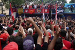 Supporters cheer as former Brazilian President Luiz Inacio Lula da Silva speaks during a rally at the Metal Workers Union headquarters, in Sao Bernardo do Campo, Brazil, Saturday, Nov. 9, 2019. Da Silva addressed thousands of jubilant supporters a day after being released from prison.